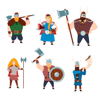 Set di caratteri della mitologia scandinava su sfondo bianco. illustrazione del fumetto
