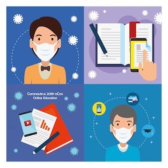 Imposta scene dell'educazione online per 2019-ncov