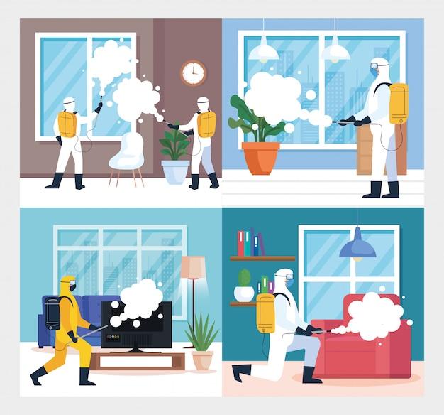 Scenografie, disinfezione domestica da parte di un servizio di disinfezione commerciale, operatori della disinfezione con tuta protettiva e spray per prevenire covidi 19