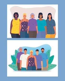 Set di scene di persone multietniche insieme, concetto culturale e di diversità