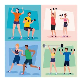 Impostare scene di persone che praticano esercizi all'aperto, concetto di ricreazione sportiva
