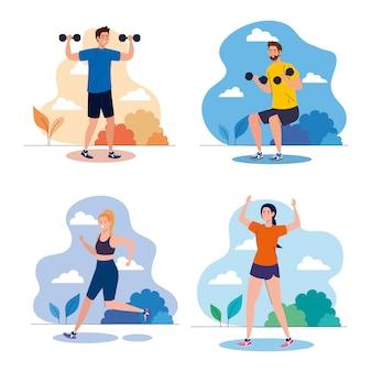 Impostare scene giovani che praticano esercizi all'aperto, concetto di ricreazione sportiva