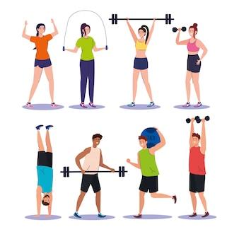 Impostare scene giovani che praticano esercizi, attività ricreative sportive