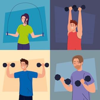 Impostare scene di giovani giovani che fanno esercizi, esercizi di ricreazione sportiva