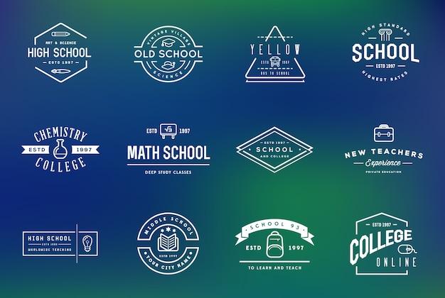 Insieme di elementi di identità del logo di scuola o college