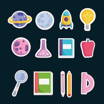 Impostare l'istruzione scolastica libro matita scienza mela e goniometro icone illustrazione