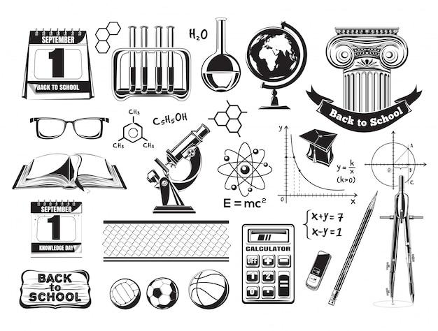 Impostare le icone della scuola e dell'istruzione. icone della scuola nera. illustrazione