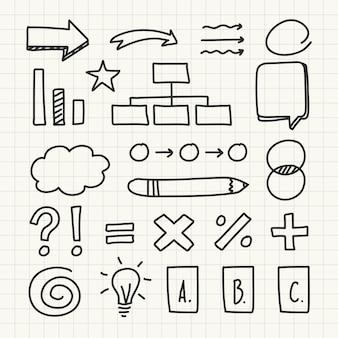 Insieme di elementi di scuola infografica