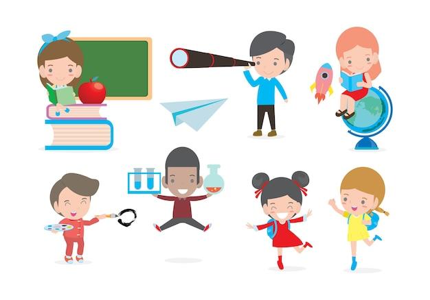 Set di bambini in età scolare nel concetto di educazione, bambini felici dei cartoni animati in classe, bambini che giocano e stile di vita, il bambino va a scuola, torna a scuola