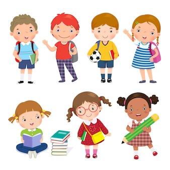 Set di ragazzi in età scolare isolati su bianco