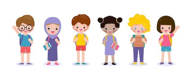 Set di bambini in età scolare con materiale scolastico, bambini in età prescolare