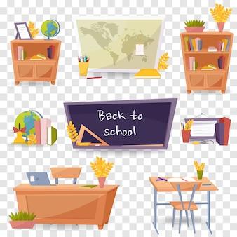 Set di icone di oggetti di scuola. varie forniture scolastiche ed educative
