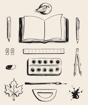 Set vista dall'alto di articoli per ufficio della scuola. libro aperto, mela, penna, colori ad acquerello, gomma, foglia d'acero, bussola, macchia, goniometro, righello, penna a sfera e pennello