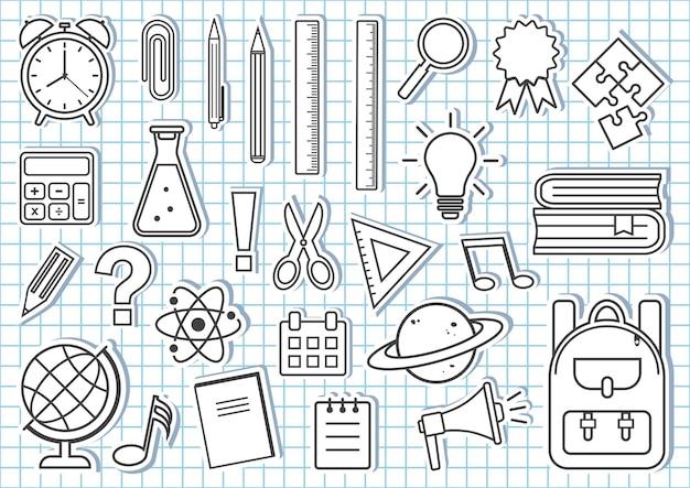 Set di materiale scolastico. disegno di contorno in bianco e nero. illustrazione vettoriale