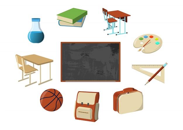 Set di materiale scolastico icona e logo. elemento di design isolato. illustrazione di cartone animato