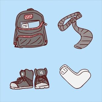 Set di strumenti di scuola disegno a mano illustrazione