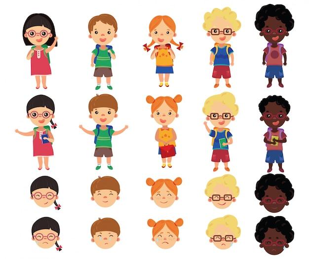 Set di scolari in stile cartone animato. una collezione di bambini allegri che vanno a scuola.