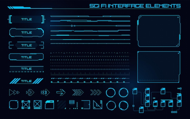Set di elementi dell'interfaccia utente moderna di fantascienza hud astratto futuristico