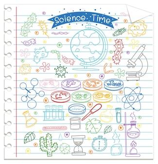 Set di elemento di scienza doodle su carta