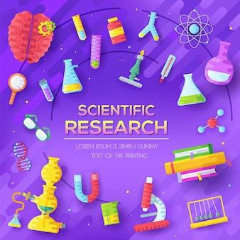 Insieme di elementi di ricerca scientifica su sfondo astratto viola.