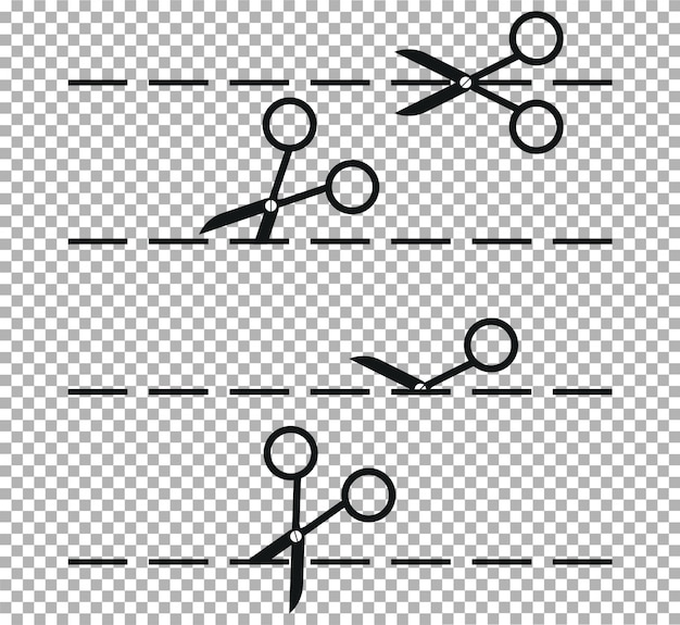 Set di forbici e coltello di cancelleria con linee di taglio.