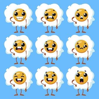 Impostare le uova strapazzate con le emozioni. clipart divertente per bambini. illustrazione vettoriale in stile cartone animato.