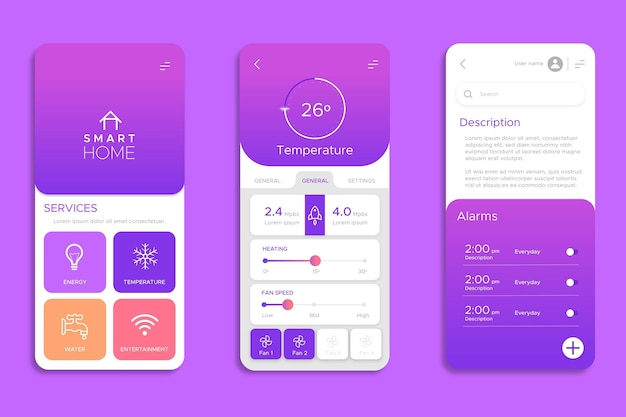 Set di schermi per app smart home