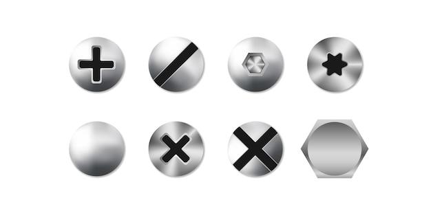 Set di viti, bulloni e rivetti isolati su sfondo bianco