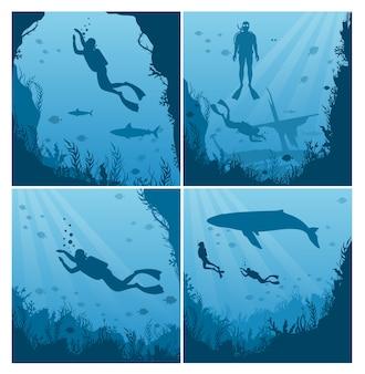 Set of scuba divers flat collezione di paesaggi sottomarini diver in costume da bagno