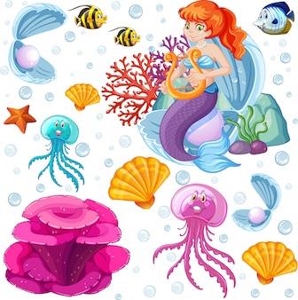 Set di animali marini e stile cartoon sirena su sfondo bianco
