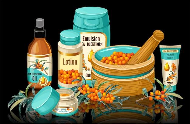 Set di olivello spinoso e collezione di cosmetici.