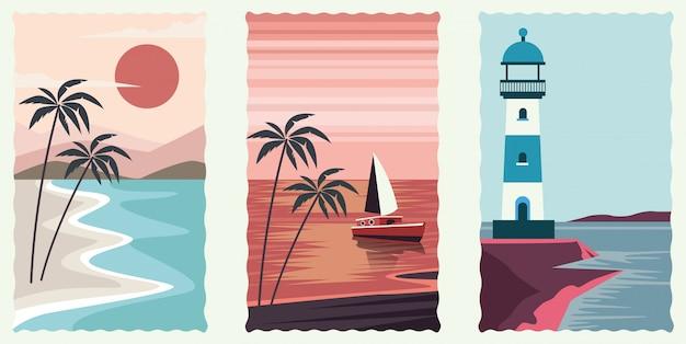 Set di scene piatte di paesaggio marino