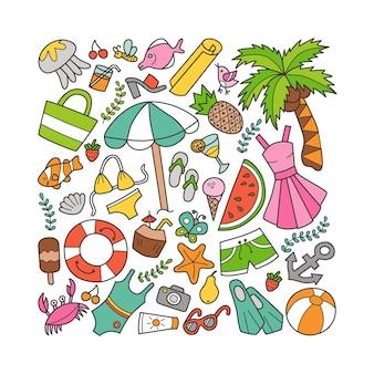 Insieme di elementi di mare ed estate in stile doodle.
