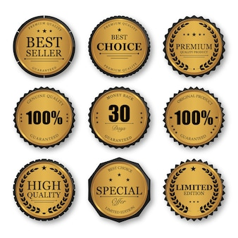 Set di badge oro sigillo ed etichette di qualità premium