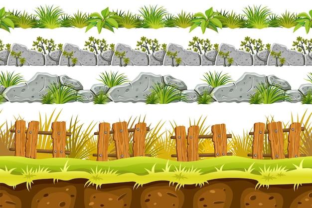 Set di confine senza soluzione di continuità vecchia roccia grigia ed erba