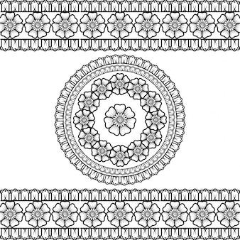 Insieme di bordi senza soluzione di continuità e ornamento circolare a forma di telaio per design, applicazione. motivo decorativo in stile etnico orientale.