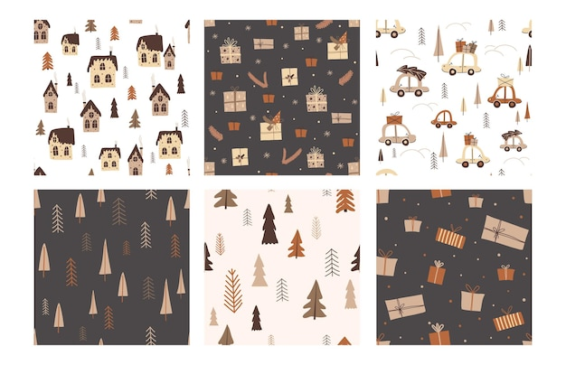 Set di modelli di buon natale luminosi senza soluzione di continuità. per carta da parati, tessuto, fondale, carta da imballaggio