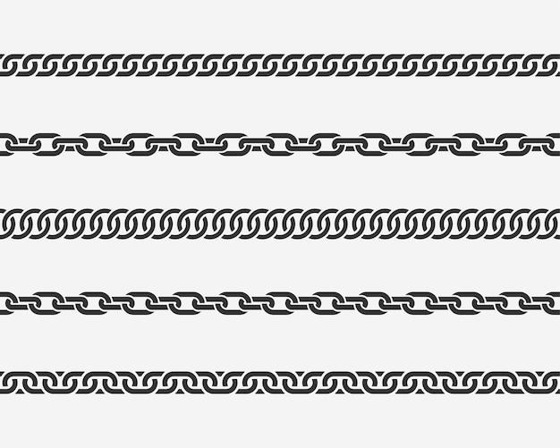 Impostare il collegamento a catena senza soluzione di continuità. diverse catene sagoma in bianco e nero isolato su priorità bassa. elementi di design della linea chainlet.