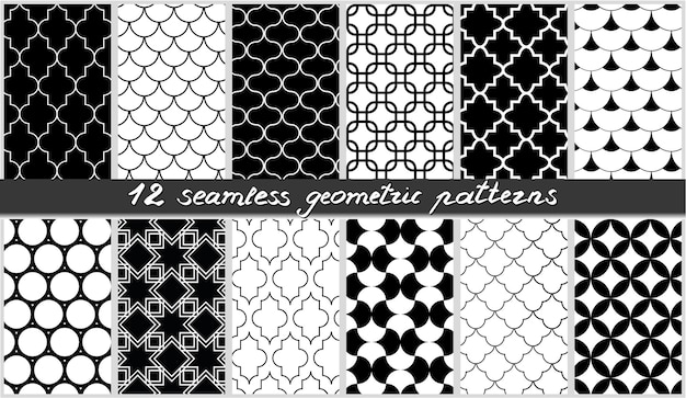 Set di motivi geometrici senza soluzione di continuità collezione di sfondi di elementi islamici in bianco e nero