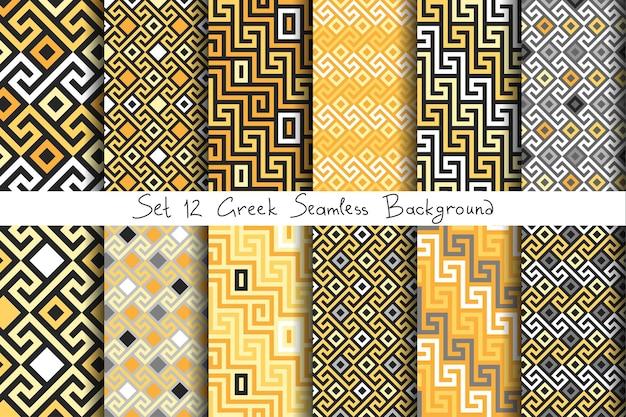 Set ornamento d'oro greco senza soluzione di continuità, meandro