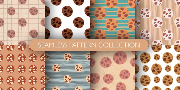 Set di pattern isolato senza soluzione di continuità con elementi colorati di biscotti al cioccolato Vettore Premium
