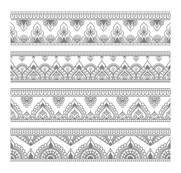 Set di bordi mandala senza soluzione di continuità e stile etnico orientale