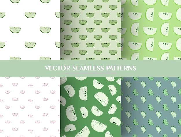 Insieme del reticolo senza giunte con l'ornamento di fette di mela di doodle. collezione di modelli di fetta di mela verde.