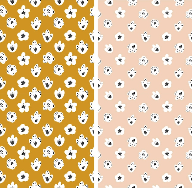 Serie di modelli senza soluzione di continuità in stile floreale. illustrazione vettoriale