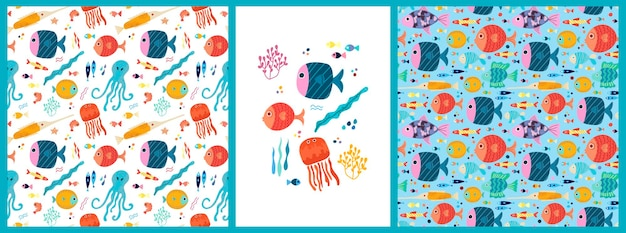 Una serie di modelli e poster senza soluzione di continuità con pesci di mare tropicali