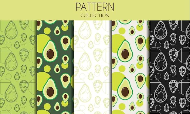 Una serie di modelli senza soluzione di continuità con avocado illustrazione di design piatto con frutta in eleganti colori verdi