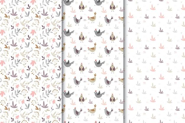 Serie di modelli senza soluzione di continuità con polli ed elementi vegetali. polli e fiori divertenti su un fondo bianco. design in tessuto per bambini.