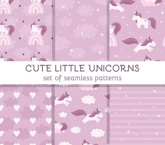 Imposta modelli senza soluzione di continuità con simpatici unicorni fatati, nuvole, stelle e arcobaleni. arredamento per un asilo nido