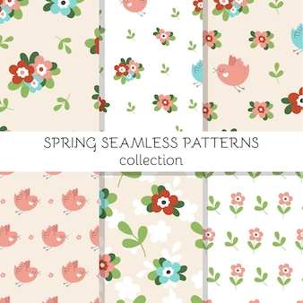 Insieme di modelli senza soluzione di continuità con graziosi fiori primaverili, uccelli e foglie.