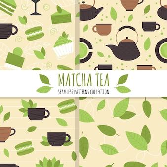 Insieme di modelli senza cuciture con elementi di tè matcha